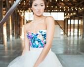 Floral Print Bustier, Organic cotton Corset, Bridal Corset, Flower print bridal corset top with zipper back