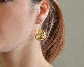 Gold Lace Dangle Earrings, gold earrings, gold dangle earrings, lace earrings, dangling earrings, delicate dangle earrings, delicate earring