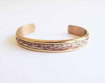 Sergio Lub Bracelet / vintage designer / textile / multi metal / cuff bracelet