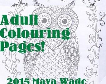 Zendoodle Zentangle Owl Coloring Page Pdf