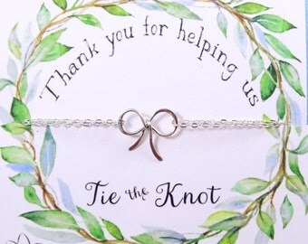 Bridesmaid gifts, THREE Silver Bow bracelets on Thank you cards, Bridal jewelry sets, Tie the Knot cards and bracelets for bridesmaids