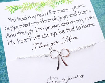 Mother's Day gift idea, Bow necklace with meaningful message card, OTIS B JEWELRY, mother of the bride gift from daughter, Bride gift to mom