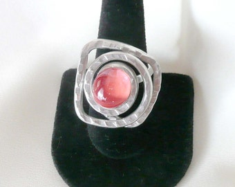 Handcrafted Peach Stone Cabochon Ring Size 8-9