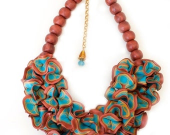 Large Ruffle necklace, statement piece, Colorful jewelry, Colorful necklace, One of a Kind