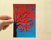 "Postcard ""Red Leaves and Turquoise Sky"" fabric art postcard print, 4x6 inches, high gloss, professionally printed"