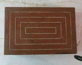 Art Deco Copper Box, Cigar/Cigarette case, Wood Insert, Marked,  Home Decor