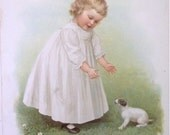 Children's/Antique/Prints/Victorian Child/Dog/Puppy/Ida Waugh- The New Puppy - verse by Amy Blanchard Chromo-Date1888