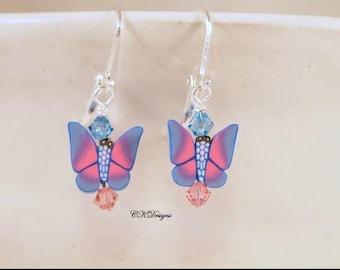 Butterfly Earrings, Polymer Clay Butterflies Beads, Teen Earrings, Beaded Pierced Earrings. OOAK Handmade Earrings. Gift CKDesigns.US