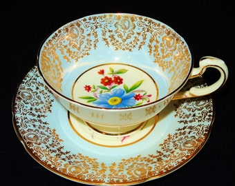 Paragon Blue and Gold Fine Bone China Teacup and Saucer
