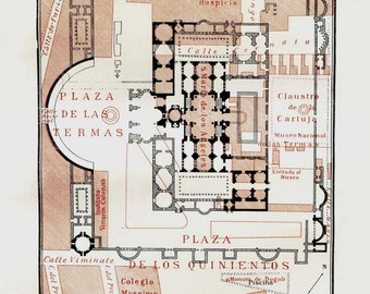 Baths of Diocletian (Thermae Diocletiani)  Floor Plan  Ancient Rome Architecture