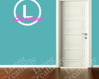 Girls Monogram Vinyl Wall Decal - Name & Initial - Kids Room Bedroom Decor - Many Color Choices