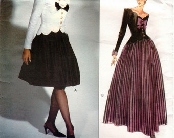 Vintage UNCUT Vogue Designer BELLVILLE SASSOON Original Pattern 1015 - Misses Fitted Top with Princess Seams & Flared, Lined Skirt - Size 12
