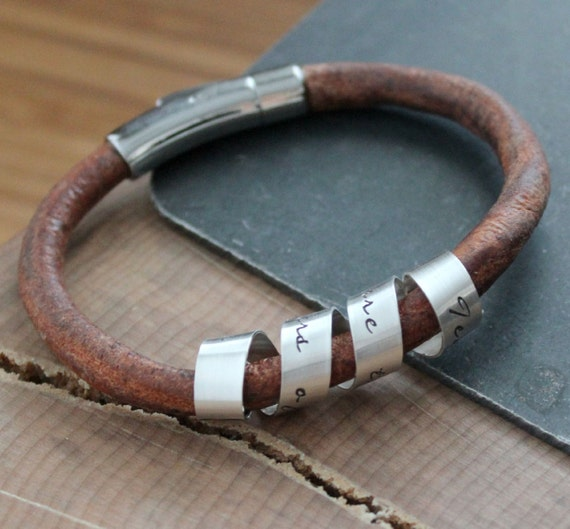 Leather and Silver ID Bracelet, Personalized Secret Spinning Message Cuff Bracelet, Hand Stamped Custom Message, Men's Or Women's Quote Gift