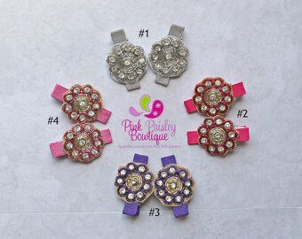 You Pick 2 Flower Clips - Baby Girl HairClips - Alligator Clips - Baby Girl Hair Bow - Baby Hair Accessories - Baby Bows - Indian Outfit