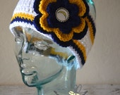 READY TO SHIP - Teen/Adult San Diego Chargers Inspired Flower Earwarmer Headband with Logo Center - Football