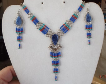 SALE Native American Style Beaded Blue Turquoise and Red with Lapis Stone Statement Necklace Southwestern, Hippie, Boho Ready to Ship
