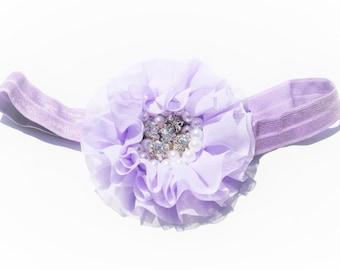 Vintage Romantic Baby Lavender Purple Boutique Chiffon Flower Diamonds and Pearls Center Baby Girls Satin Elastic Band Headband Photo Prop