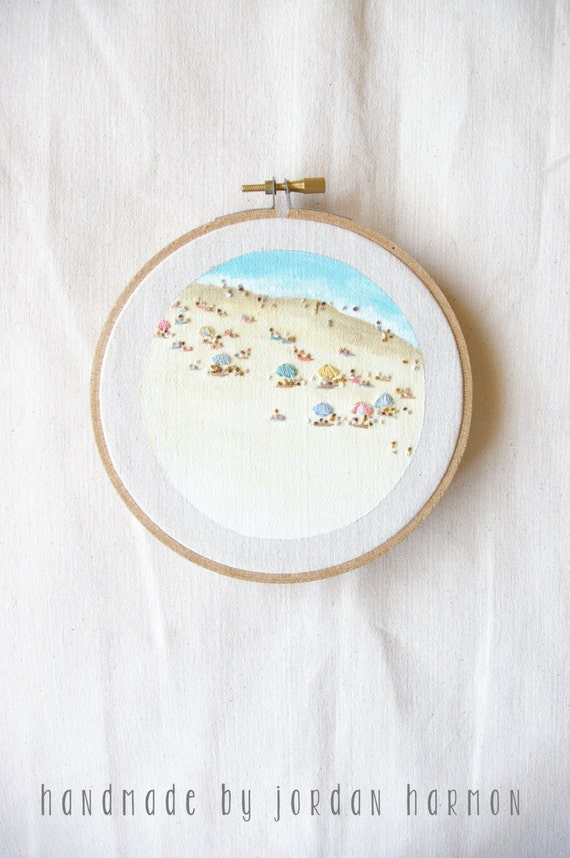 Beach 7, embroidery art, hoop art, summer original small hand embroidered artwork, wall art, minimalist embroidery