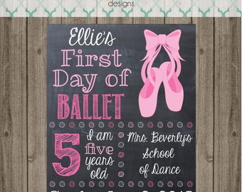 First Day Ballet Chalkboard Sign - Printable 8x10 First Day of Ballet Photo Prop