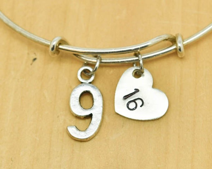 Number Nine Bangle, Sterling Silver Bangle, One Bracelet, Expandable Bangle, Personalized Bracelet, Charm Bangle, Monogram,Initial Bracelet