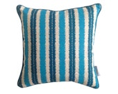 Blue Jagged stipes linen cushion cover