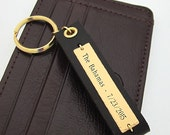 Mens Keychain - Personalized Leather Key Chain for Men - Latitude Longitude For Him -  Mens GPS Keychain -  Anniversary gift for men -
