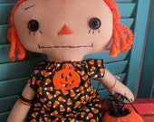 Primitive Halloween Orange Hair Raggedy Prim Doll