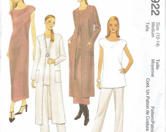 Mccalls Misses Pattern Sewing Pattern Womens Fashions Long Coat Tunic Pants Dress NOS UNCUT Pattern Loose Fit Draping Fashions Size 12 14