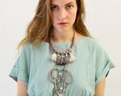 Taupe Tassel Necklace, Boho Necklace, Rope Necklace, Macrame Necklace, Hand Dyed Necklace, Purple Necklace, Bib Necklace