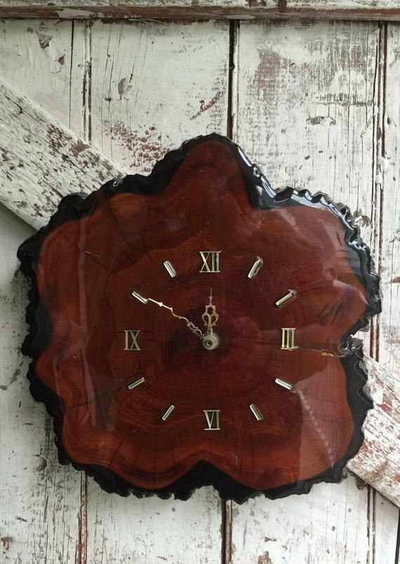 Florida Cypress Wood Wall Clock Vintage