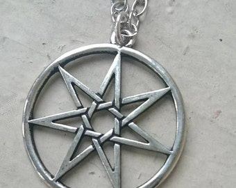 Large Seven Pointed Faery Star Septagram Chain Necklace