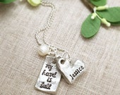 Mother Necklace . Personalized Mother Jewelry . Gift for Mom . Name Necklace . Pewter Jewelry . Mommy Jewelry . Handstamped