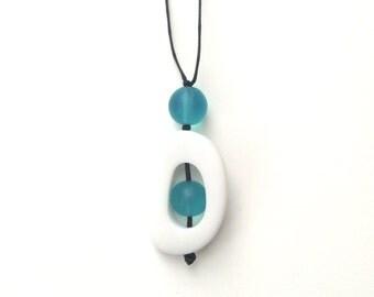 Nursing Breastfeeding Necklace - Non Toxic Resin 'Twiddle Buster' Pendant - White & Turquoise/ Aqua