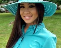 Vintage 1970s Ladies Blue Wide Brim Floppy Straw Hat Only 8 USD