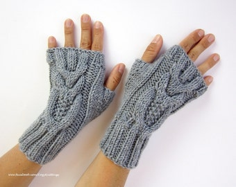 gray arm warmers with owls wrist warmers hand knit mittens fingerless gloves gray owl wool blend