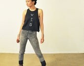 Vegan Shirt: Ladies Charcoal Cut Off T-Shirt ( XS / S / M / L )