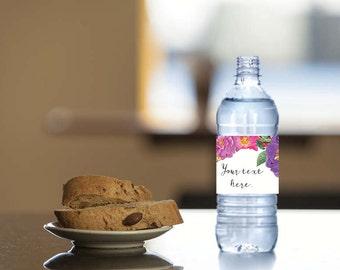 Instant Download - 4 DIY, Printable Water Bottle Labels - Butterfly Garden