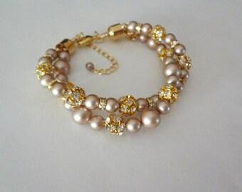 Pearl bracelet - Gold - Chunky - Twisted - Swarovski pearls and crystals - Brides bracelet - 2 strand - Wedding bracelet ~ Infinity bracelet