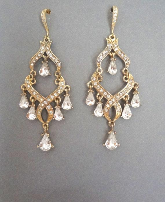 Chandelier Earrings Gold Rhinestone By Queenmejewelryllc