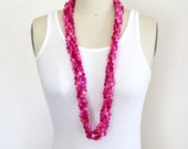 Vintage Pink, Magenta Fuchsia and Purple Plastic Disc Beaded Multi Stranded Necklace / Mod Pink Gradient Long Necklace