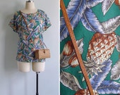 Vintage 80's 'Palm Leaves & Pineapples' Green Blouson Top XS S or M