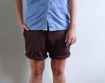 Vintage 70's Men's Chocolate Brown Retro Polyester Shorts S