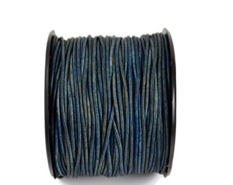 1.5mm Natural Blue Leather Round Cord - Distressed Matte Finish