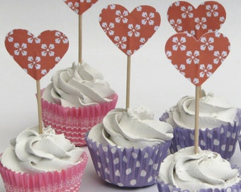 CLEARANCE - Cupcake topper - food pick - tooth pick heart shaped orange floral - 20 pcs