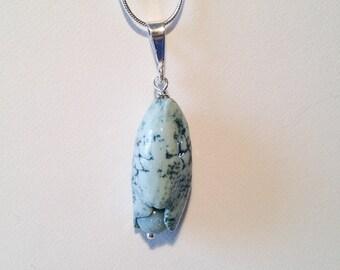 Handmade ceramic  aqua/teal textured drop pod pendant