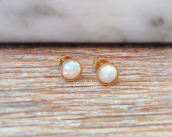 Small Opal Earrings Tiny Round Opal Studs Earrings Rainbow Opal Earrings 14K Gold Filled Dot Earrings Modern Jewelry Silver Opal Earrings C1