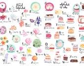 Floral Alphabet and Cake Alphabet A3 Art Prints