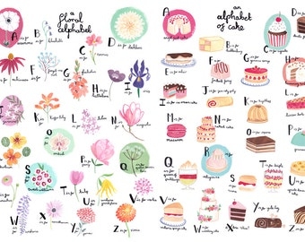Floral Alphabet and Cake Alphabet A3 Art Prints