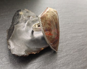 Spiderweb Agate Shield Ring - Sterling Silver & Brass