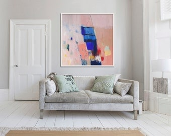 "ABSTRACT print, LARGE GICLÉE print, beige, blue, "" She's My Muse"""